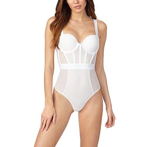 DKNY Damen Sheers Strapless Bodysuit Body, figurformend, Weiß, 70B