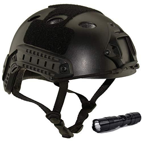 QMFIVE Casco táctico Estilo Militar, Casco de Airsoft Paintball Casco para con protección Gafas para Airsoft o Paintball, con Gafas, para Combate en Espacios Cerrados (Negro+L)