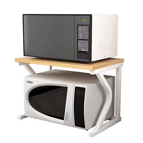 Tokyia Microondas Horno de Carro Doble de Almacenamiento Estante de la Cocina de Almacenamiento for Horno Floor Stand Blanca del Marco 57 X 38 X 38 cm Utilizado en Sala de Estar, Oficina, Dormitorio,