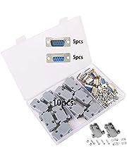 GTIWUNG 10 Piezas Conector de Serie DB9, DB9 Pin Macho Conector, DB9 Conector Hembra en Serie y Capucha de Plástico/Carcasa, RS232 Macho Hembra