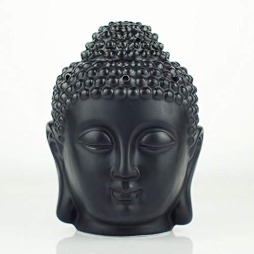 Mayco Bell Duftlampe für Aromatherapie, Buddha-Kopf, Aroma, ätherisches Öl, indischer Räucherstäbchen, Buddha, tibetisches Räucherstäbchen, S (schwarz)