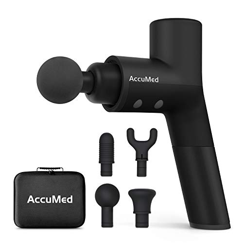 AccuMed Muscle Gun Massager - Super Quiet Deep Tissue Back Massager Percussion Massager - Handheld Cordless Massager - Includes 4 Interchangeable Massage Heads and Travel Case (AC-GM8806)