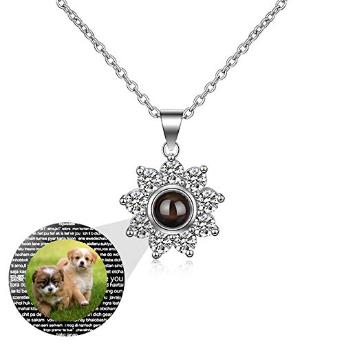 Love Memory Custom Photo Charm Projection Necklace I Love You 100 Languages Pendant Necklace Valentine's Day Anniversary Mother's Day Birthday Ideal for Women(Silver1 24)