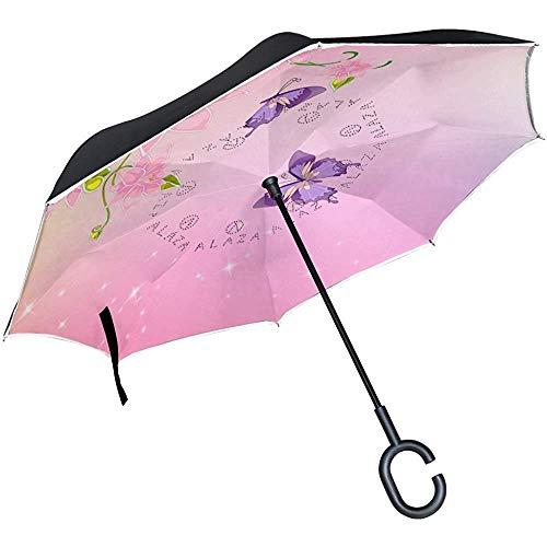 Umgedrehter Regenschirm Pink Fairy Butterfly, Doppelschicht-Umkehrschirm, wasserdicht für Auto-Regen im Freien, mit C-förmigem Griff