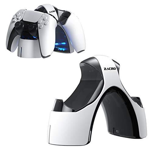 Zacro Cargador Mando PS5, Estación de Carga Rápida Doble USB para Playstation 5/PS5, Soporte Mando PS5, Base de Carga Portátil con LED Indicador y Cable USB extraíbles, Blanco