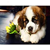 15.7x19.7inch DIY Diamond Painting Cute Pet Cross Stitch Full Square Diamond Embroidery Saint Bernard Dog Puppy Mosaic Decor Christmas Gift