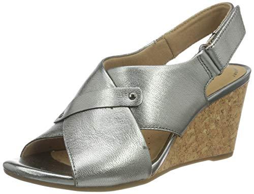 Clarks Margee Eve, Sandali con Tacco Donna, Metallic Leather, 40 EU