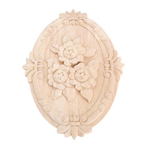 Diseño de marco de madera tallada Onlay sin pintar muebles decoración sin pintar Oval patrones