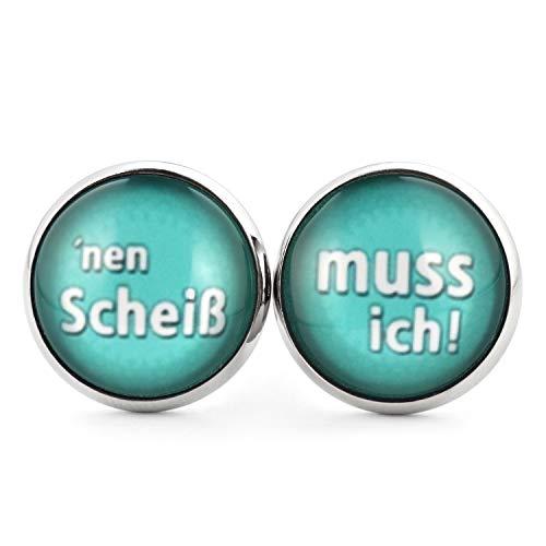 SCHMUCKZUCKER Damen Ohrstecker Spruch Nen Scheiß - muss ich Lustige Edelstahl Ohrringe Silber Türkis - 2 Größen (14mm)