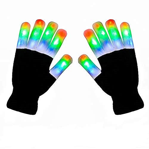 AOQI LED Light Up Gloves, 3 Colors 6 Modes Flashing Glow Finger Light Gloves for Christmas, Halloween and Birthday Party Novelty Light Up Toys (White/Black)
