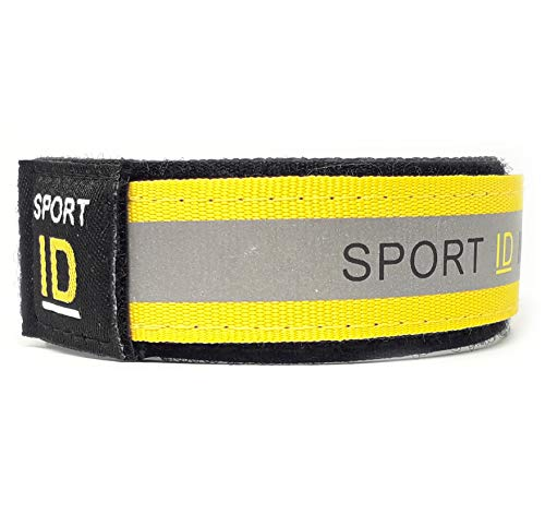 Sports ID Wristband, Reflective Identity Bracelet for Runner or Cyclist, Store ID, Emergency Contact Information, Medical Cont (Bright Yellow)