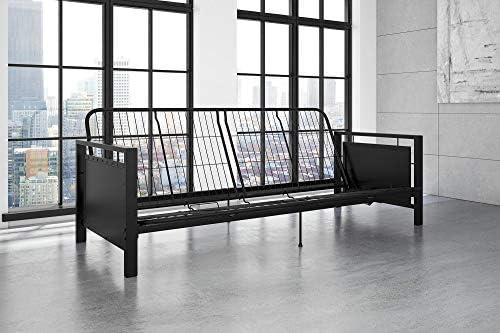DHP Henley Metal Arm Futon Frame Industrial Loft Design Converts to Sleeper Black Sturdy Metal product image