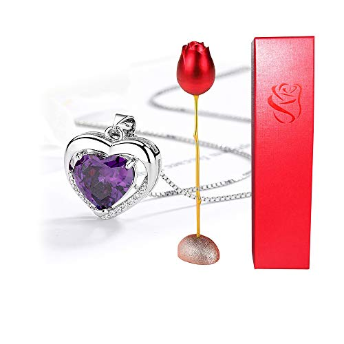 Caja de anillo de rosa roja juego de caja de regalo de embalaje de joyería de collar de corazón, collar para ceremonia de aniversario de cumpleaños, utilizado para almacenar pendientes broches broches
