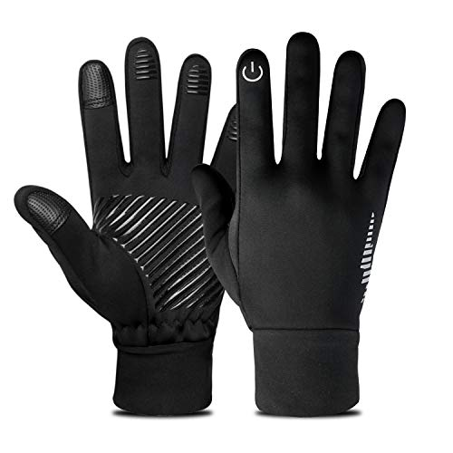 Nueve&Five Waterproof Winter Gloves for Men and Women, Full Finger Fitness Gloves, Touchscreen Enabled Windproof Gloves for Running, Cycling, Hunting-Black
