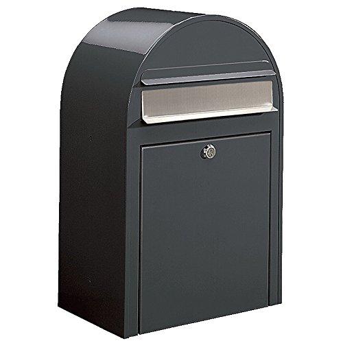 Bobi Classic Briefkasten RAL 7016 grau, Klappe aus Edelstahl Wandbriefkasten