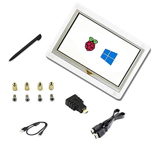 Touchscreen da 5 pollici B con Cover Case interfaccia HDMI resistivo LCD 800 * 480 Win10. Supporta vari sistemi per Raspberry pi4 / 3B + / 3B