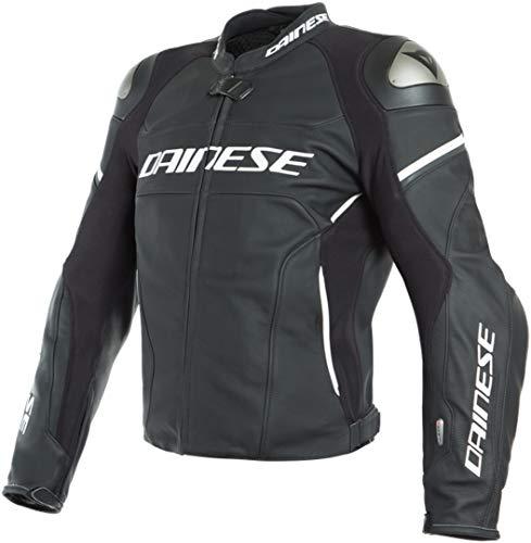 Dainese Racing 3 D-Air® Airbag Motorrad Lederjacke Schwarz/Weiß 52