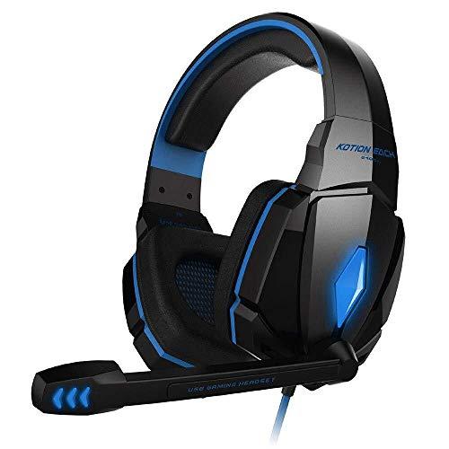 Yangmanini 3,5 Mm Gaming Headset Auricular Atado con Alambre De Jugador De Auriculares con Micrófono For For PS4 (Azul) (Color : Blue)