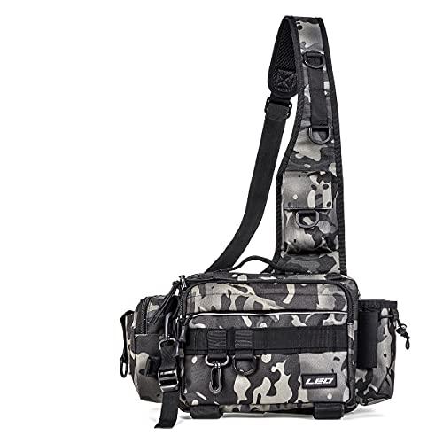 フィッシングバッグショルダーバッグフィッシングタックルバッグ大容量ポールストラップ防水多機能ランニングバッグウエストバッグ
