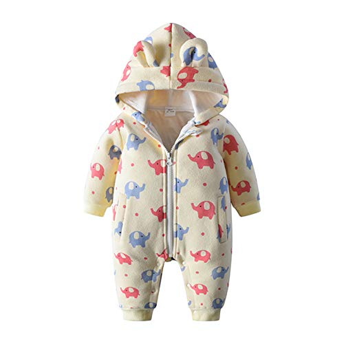 WYTbaby Bebé Mameluco Niños Niñas Trajes de Nieve Encapuchado Invierno Monos Espesar Peleles Overoles Calentito Enterizo, 0-3 Meses