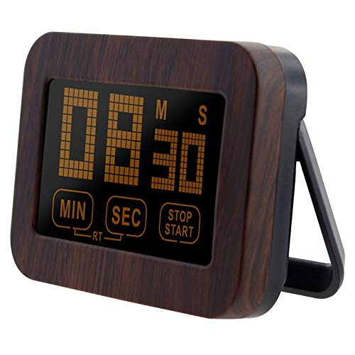 Fhdpeebu Reloj digital para cocina con pantalla táctil, con pantalla táctil, color marrón
