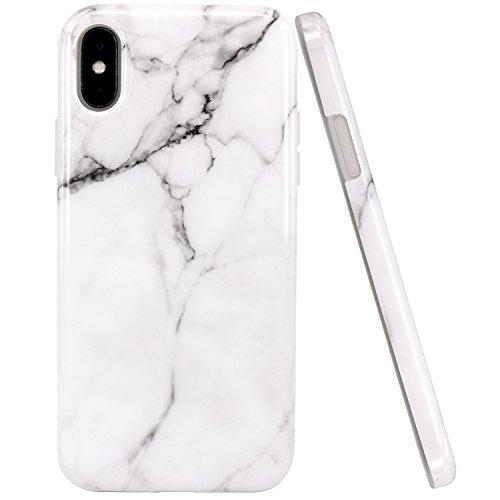 JIAXIUFEN Bianco Marmo Design TPU Gel Silicone Protettivo Skin Custodia Protettiva Shell Case Cover Compatibile con iPhone X