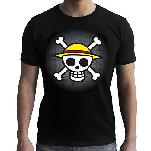 ABYstyle ABYTEX040 - Disfraz de hombre (13 aos) (talla L) - Camiseta One Piece Calavera con mapa negra l