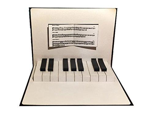 ポップアップグリーティングカード ピアノ鍵盤  ブルー
