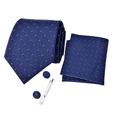 zhxinashu 4er Pack Herren Krawatten Set - Jacquard Krawatte Twill Taschentuch Retro Krawattennadel Manschettenknöpfe Hochzeit Party Smoking Zubehör mit Box Verpackt E
