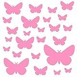 PREMYO Set 25 Adesivi Murali Bambini Farfalla - Wall Stickers Muro Cameretta - Decorazione Parete Camera da Letto Rosa