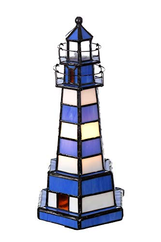 Lampe im Tiffany-Stil Leuchtturm Dekorationslampe Glaslampe, Leuchte,Tischlampe, Tischleuchte (Blau-Weiß)