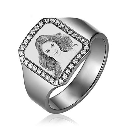 Anillo de foto de bricolaje Anillo de imagen personalizado Anillo de plata esterlina 925 Anillo de hombre(Plata 18)