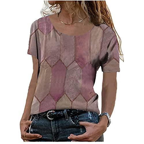 FOTBIMK Camisetas de mujer de verano de moda O-cuello grande estampado de diamante suelto camiseta O-cuello Tops camiseta