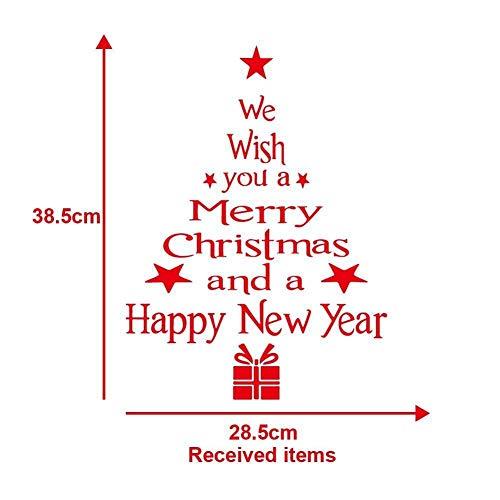 Aufkleber Weihnachtsbaum rot weißen Hintergrund Außenhandel in Europa und Amerika Sprüchen optional englische Dichtung Aufkleber Schlafzimmerwand Dekoration (Size : Red)