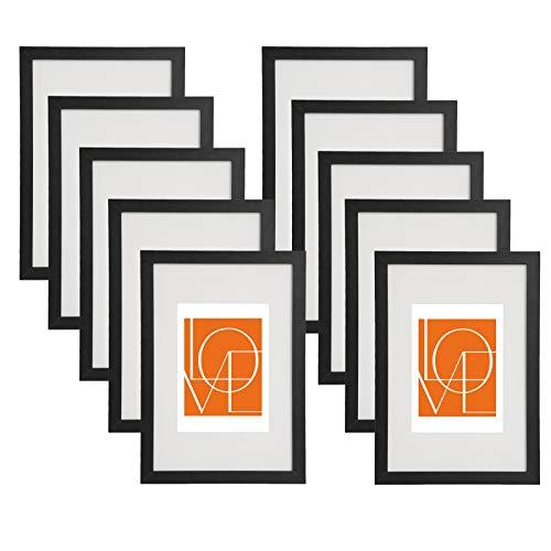 WOLTU 10er Set Bilderrahmen Fotorahmen Holzrahmen 13x18cm, Fotogalerie mit Papier-Passepartout, aus MDF Platte, BR9646sz-10