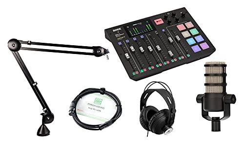 RØDECaster Pro Bundle (compacte RodeCaster productie Studio in set met Rode PodMic hoofdtelefoon en kabel)