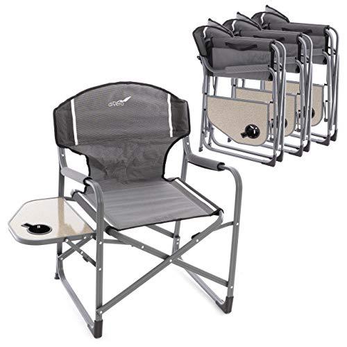 Divero 4er Set Angelstuhl Regiestuhl Campingstuhl mit Getränkehalter Ablage – Polyester Aluminium – Farbe: Rahmen hellgrau - Bespannung grau