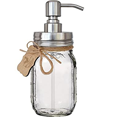 Premium Rust Resistant 304 18/8 Stainless Steel Mason Jar Soap Pump/Lotion Dispenser | Modern Farmhouse | 16 oz (Regular Mouth) Glass Mason Jar (Brushed Stainless Steel)