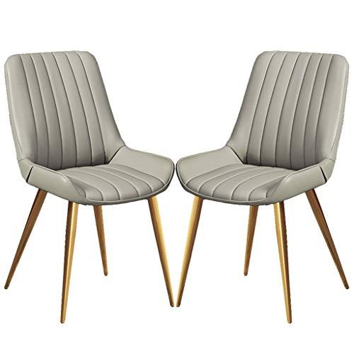 YAWEDA PU sillas de Cuero restauración con Patas Metal Dorado Salón Cocina Sala de Estar Conjunto de 2 (Color : Light Gray)