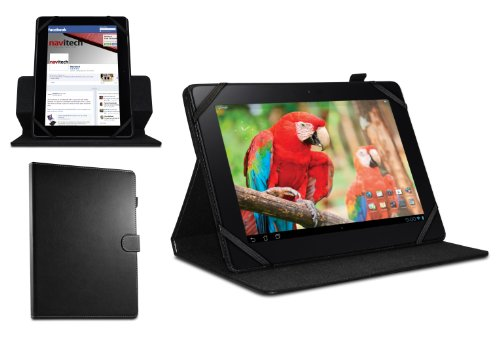 Navitech Custodia/Cover Nera in Pelle Bycast a 360 Gradi di Rotazione per Olivetti OLIPAD 3 10.1'' / Olivetti OLIPAD 110 10.1''