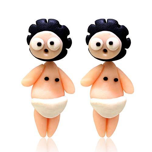 Hecho a Mano de Arcilla polimérica Pendientes de botón de bebé Encantador Joyería de Moda Pendientes de Oreja 3D de Dibujos Animados para Mujeres