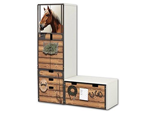 STIKKIPIX Mundo de Caballos Pegatinas | SL22 | Adecuado para la combinación de Guarda STUVA de IKEA (Forma de L) | Compuesto por Armario, cómoda con 3 cajones y arcón de Banco (Mueble no Incluido)