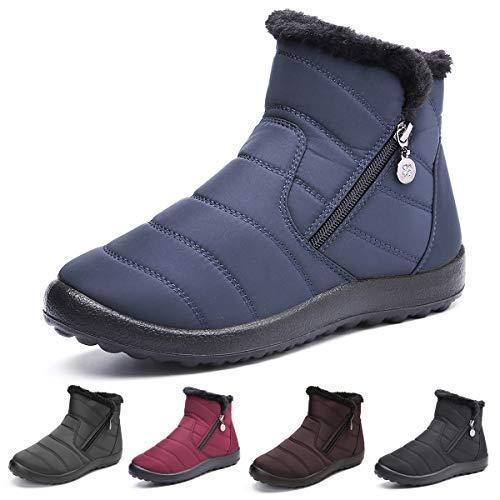 Camfosy Damskie buty zimowe, wodoszczelne, z ciepłą podszewką, płaskie botki, antypoślizgowe buty zimowe z krótką cholewką, z zamkiem błyskawicznym, buty wsuwane, czarne, szare, niebieskie, czerwone, niebieski - niebieski - 40 EU Schmal