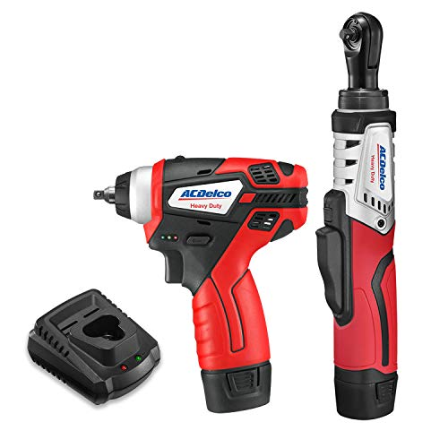 """ACDelco G12 Series 2-Tool Combo Kit- 1/4"""" Brushless Ratchet Wrench + 1/4"""" Power Impact Wrench, 2-battery, ARW12102-K7"""