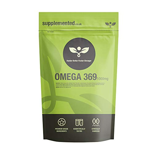Omega 369 1000mg 180 Softgel Capsules High Strength Essential Fatty Acids Fish Oil Supplement UK Made. Pharmaceutical Grade