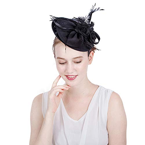 Frauen Hochzeit Haarspange Schleier Damen Blume Braut Lacegirl Vintage Handgemachte Stirnband Haarnadel Bankett Cocktail Party Festival Cap,Schwarz