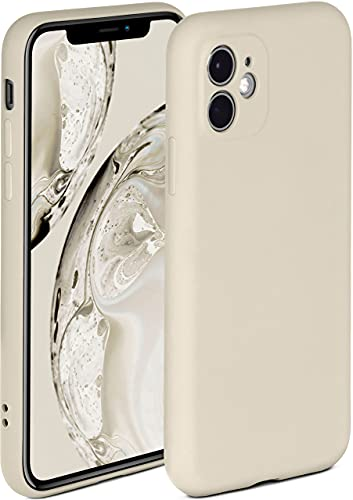 ONEFLOW Soft Hülle kompatibel mit iPhone 11 Hülle aus Silikon, erhöhte Kante für Displayschutz, zweilagig, weiche Handyhülle - matt Creme