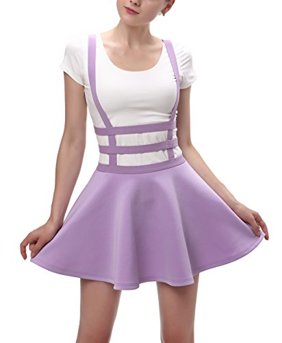 Urban CoCo Womens Elastic Waist Pleated Short Braces Skirt (Small, Lavender)