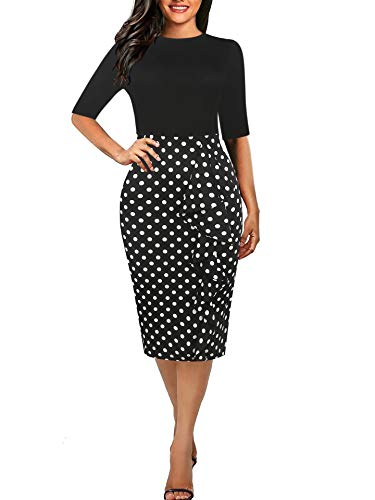 Women's Casual Dot Half Sleeve Round Neck Work Business Pencil Dress Black Dot M