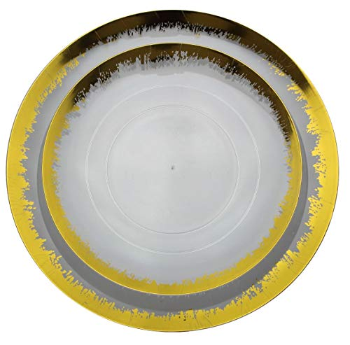 Trendables 60 Pack Combo Plastic Plates Set - 30 - 10.25 inch. Plastic Dinner Plates & 30 - 8 inch. Dessert Disposable Plates - Clear Plastic Plates For Parties With A Gold Scratched Design Rim
